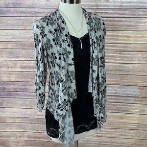 About A Girl Cream/Black Open Waterfall Cardigan M